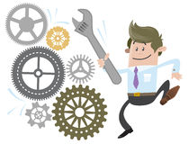 Business Buddy fixes. Illustration of Business Buddy fixing the machine with his massive Spanner vector illustration