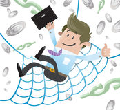 Business Buddy has a Financial Safety Net. Illustration of Business Buddy falling into the safety of his huge Financial Safety Net. Every home should have one Royalty Free Stock Image