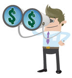Business Buddy with Money in his Sights. Illustration of a Business Buddy with a large set of binoculars and dollar signs in his sight Stock Photo
