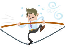 Business Buddy walks the tightrope. Illustration of Business Buddy walking the high wire whilst holding onto his pole for dear life Royalty Free Stock Image