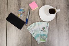 Business and budget planning with Colombian money stock image