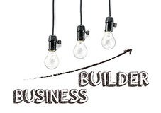 Business builder phrase and light bulb, hand writing, aggressive Stock Photo