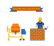 Business, builders people building, teamwork professional worker vector concept. Royalty Free Stock Photography