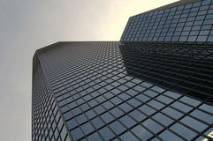 Business Building. A tall skyscraper with dark blue windows Royalty Free Stock Images