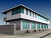 Business building 3D. Business building with newfacade Royalty Free Stock Images