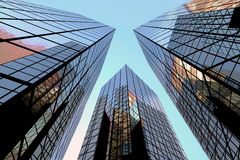 Business building. Walls of mirror buildings against a decline stock photo