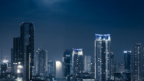 Business Building Bangkok city area at night life high angle bir Stock Photography