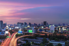 Business Building Bangkok city area at night life with transport Stock Photography