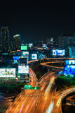 Business Building Bangkok city area at night life with transport Stock Image