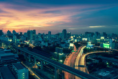 Business Building Bangkok city area at night life with transport Royalty Free Stock Images