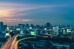 Business Building Bangkok city area at night life with transport Stock Images