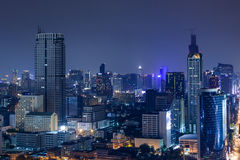 Business Building Bangkok city area at twilight scene, high angle bird eyes view royalty free stock photography