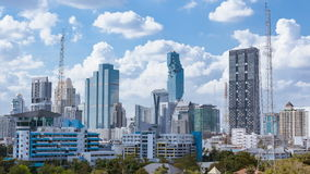 Business Building Bangkok city Asia Thailand landscape area panning and blue sky cloud background, High quality 4K Timelapse stock footage