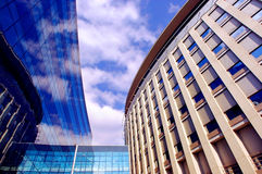 Business building on blue sky background. Business building on blue sky and sun background stock photos