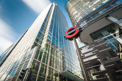 Business building in Canary Wharf. Canary Wharf Underground station in front of business buildings shot with long exposure royalty free stock photo