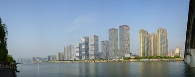 Business building in Changsha,China. Changsha, Hunan province, China - April 12, 2015: The Panorama View of the Business Buildings in Changsha City,taken by royalty free stock photos