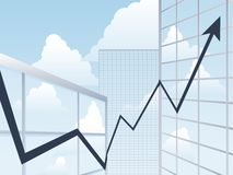 Business building chart up Royalty Free Stock Photos