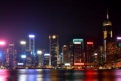 Business building at Hongkong Victoria harbor in night, 2016. Night view and lightinging of Hongkong victoria harbor Stock Photos