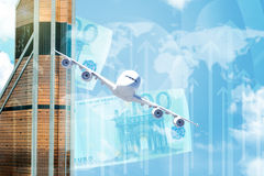 Business building with money and arrows Stock Photos