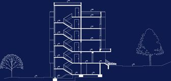 Business Building section plan project. Building section plan project that i made in AutoCad. This is just an idea of architectural business project Stock Images