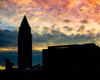 Business building with Trade Fair Tower at sunrise in Frankfurt, Germany Stock Photography