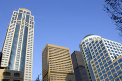 Business buildings. Modern business buildings in downtown Seattle Royalty Free Stock Images