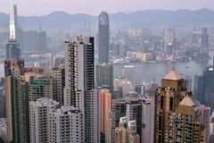 Business buildings around Hongkong Victoria harbor, 2016 Royalty Free Stock Photography