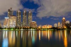 Business buildings in Bangkok seen from Benjakiti park, Stock Image