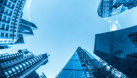 Business buildings. Blue toned Royalty Free Stock Photos