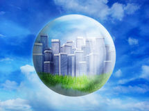 Business buildings in bubble Stock Photos