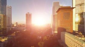 Business buildings city sunset skyline real estate landmarks stock video footage