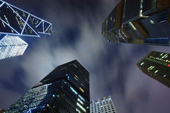 Business buildings at night Royalty Free Stock Photos