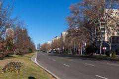 Business buildings at Paseo de la Castellana street in City of Madrid, Spain Royalty Free Stock Images