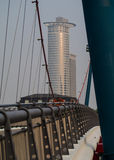 Business buildings seen from the Holbeinsteg-Bridge in Frankfurt Stock Photography