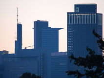 Business buildings at sunrise in Frankfurt, Germany Stock Image