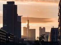 Business buildings at sunrise in Frankfurt, Germany Royalty Free Stock Image