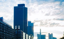 Business buildings at sunrise in Frankfurt, Germany Stock Photos