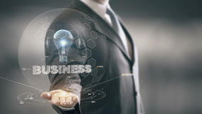 Business with bulb hologram businessman concept stock video