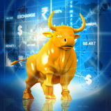 Business bull. In abstract background Royalty Free Stock Photo