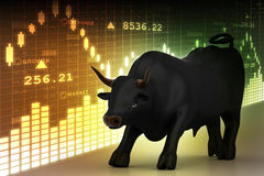 Business bull. In color background Stock Image