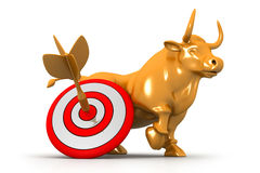 Business bull and target Royalty Free Stock Photo