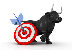 Business bull and target Stock Photography