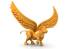 Business bull with wings. 3d illustration of Business bull with wings Stock Image