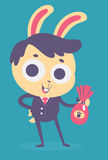 Business Bunny Holding a Chocolate Egg Stock Photos