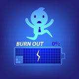 Business burn out concept illustration in blue background Stock Images