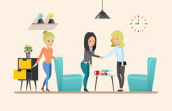 business businessman cmputer desk laptop meeting smiling talking to using woman Κοινή ομαδική εργασία εργασία 2 διακοσμήσεις που  Στοκ Εικόνα