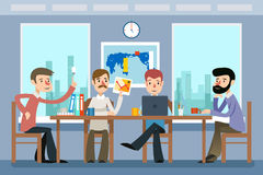 business businessman cmputer desk laptop meeting smiling talking to using woman Λειτουργώντας γραφείο ομάδας διάνυσμα Στοκ Φωτογραφίες