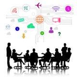business businessman cmputer desk laptop meeting smiling talking to using woman Στοκ Εικόνες