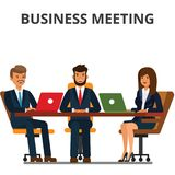 business businessman cmputer desk laptop meeting smiling talking to using woman Στοκ Εικόνες