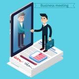 business businessman cmputer desk laptop meeting smiling talking to using woman men suitcase απομονωμένο επιχείρηση άτομο ανασκόπ Στοκ φωτογραφία με δικαίωμα ελεύθερης χρήσης